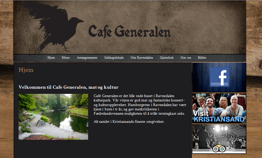 A picture of the website provided to Cafe Generalen