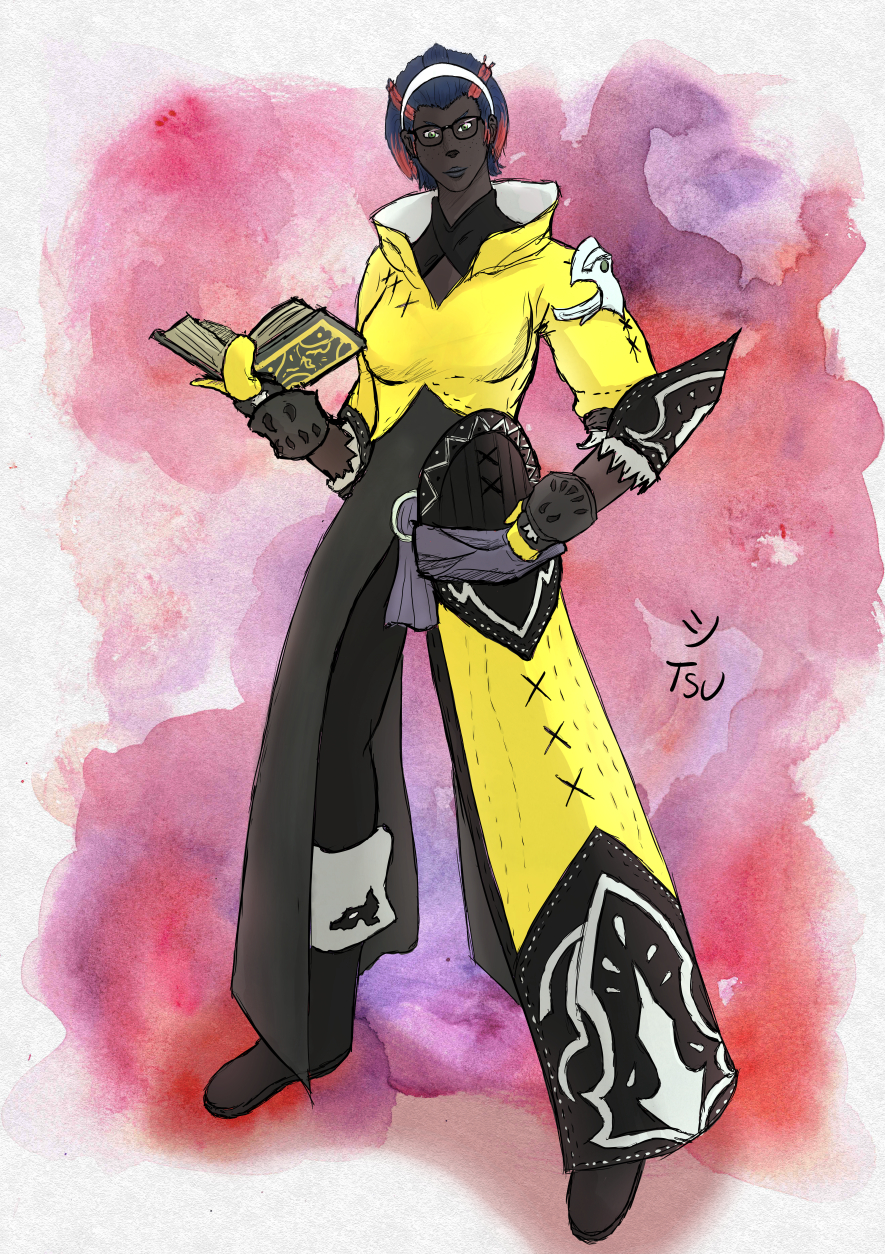 A large roegadyn woman with a book